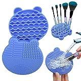 Tenmon Almohadilla de Limpieza para Brochas de Maquillaje 2 en 1 Cepillo de Silicona Cepillo para Secadora Cepillo Portátil Cepillo de Viaje Herramienta de Limpieza (Azul)