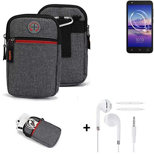 K-S-Trade® Gürtel-Tasche + Kopfhörer Für -Alcatel U5 HD Single SIM- Handy-Tasche Schutz-hülle Grau Zusatzfächer 1x