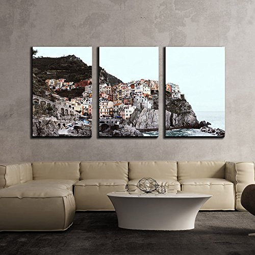 """wall26 - 3 Piece Canvas Wall Art - Beautiful Landscape/Scenery of Panorama View Over a Cinque Terre Village - Modern Home Decor Stretched and Framed Ready to Hang - 24""""x36""""x3 Panels"""