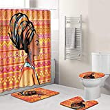 KEAINIDENI Alfombra de baño,4 Unids/Set Falda Sexy Chica Cortina de Baño Tela Impermeable Rizos Mujeres Africanas Cortina de Ducha Funda de Almohadilla de Baño Alfombra de Baño, Fzn0020