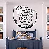 Gants De Baseball Et Balle Autocollant Mural Nom Personnalisé Autocollant Enfants Chambre Décoration Cadeau Personnalité Fan De Sport Autocollant Mural 60X57 Cm