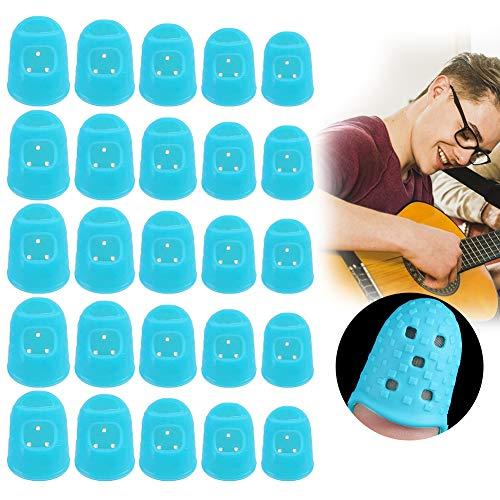 Gitarren Fingerschutz, Gitarre Fingerspitzen, Silikon Fingerschutzkappen, Gitarre Fingertip Protectors, fingerschutz für ukulele, bass, Zählen, Nähen, Papierkram, 5 Größen 50 Stücke (Blau)