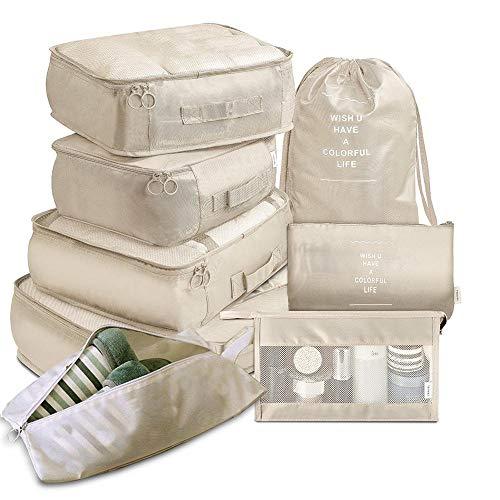 Organizer Per Valigie,Contenitori Per Valigia Da V Imballaggio da viaggio Cubi Multifunzione 8pcs / Set Cubi di viaggio Cubi per bagagli Organizzatore bagagli Viaggio Compressione Valigia Borsa Travel