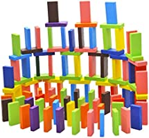 Toyshine 120 pcs 12 Color Wooden Dominos Blocks Set, Kids Game Educational Play Toy, Domino Racing Toy Game