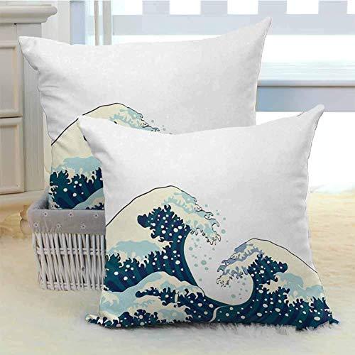 N\A Las Grandes Olas de Kanagawa Throw Pillow Estuche Funda de cojín Ilustración Japonesa Decoración de Surf en el océano Diseño acuático Varios Patrones de Moda de impresión 2PCS Azul Oscuro Blanco