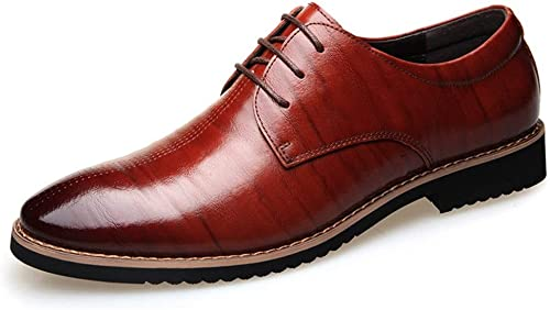RONGLINGXING Mode Herren Business Oxfords Schnürschuhe aus brüniertem, flachem, niedrigem Echtleder mit Rutschfester Gummisohle Brogues (Farbe   Braun, Größe   40 EU)