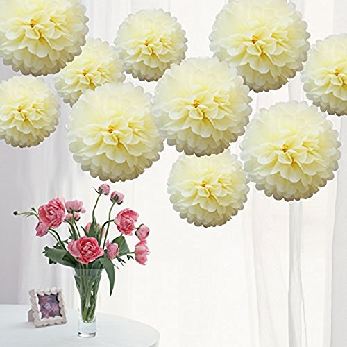 18 PCS Paper Pom Poms for Party Decorations - 10, 12, 14 Inch Paper Flowers Perfect for Wedding Decor - Birthday Celebration - Table and Wall Decoration (3 color)