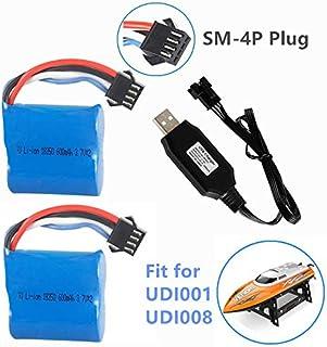 7.4V (2 x 3.7V) 600mAh Li-ion Battery with SM-4P Plug for UDI001 Venom Speed RC Boat UDI008 UD08 UDI001 Battery 2 Pack wit...
