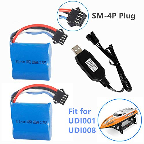 7.4V (2 x 3.7V) 600mAh Li-ion Battery with SM-4P Plug for UDI001 Venom Speed RC Boat UDI008 UD08 UDI001 Battery 2 Pack with USB Charger