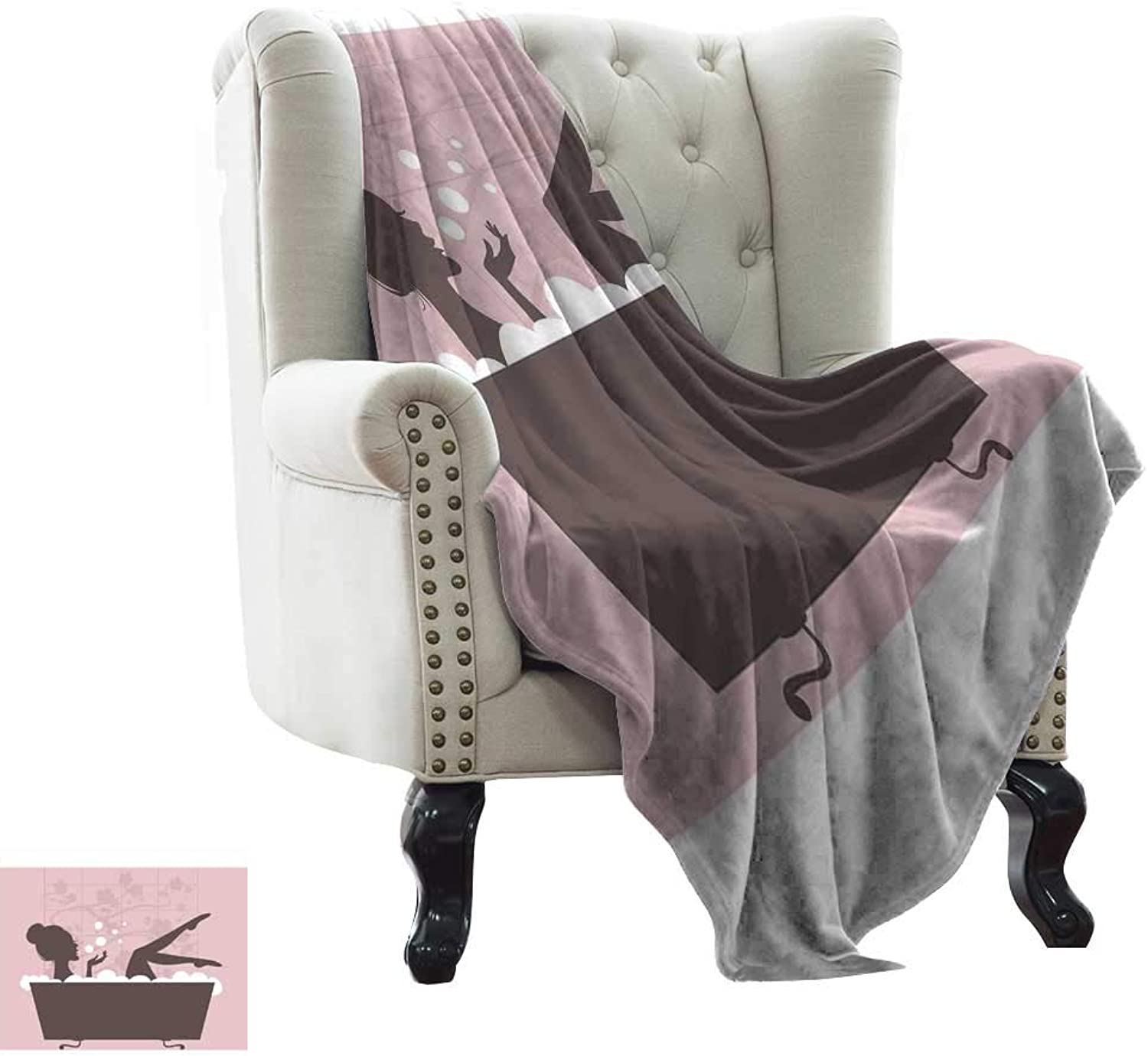 LsWOW Flannel Fleece Blanket Teens Girls,Beautiful Woman in Bath Tub Spa Treatment Relaxing Concept Vintage Style,Pink Dark Grey Reversible Soft Fabric for Couch Sofa Easy Care 60 x62
