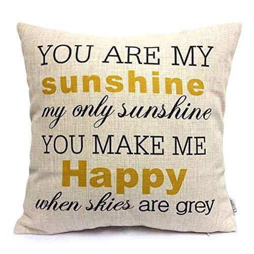 Hero Ivy Amarillo Fundas de Cojín Algodón Lino para Sala de Estar Dormitorio Sofás Duradero Decorativas Fundas para Almohada Tacto Suave 45 x 45cm, Citar-You Are My Sunshine