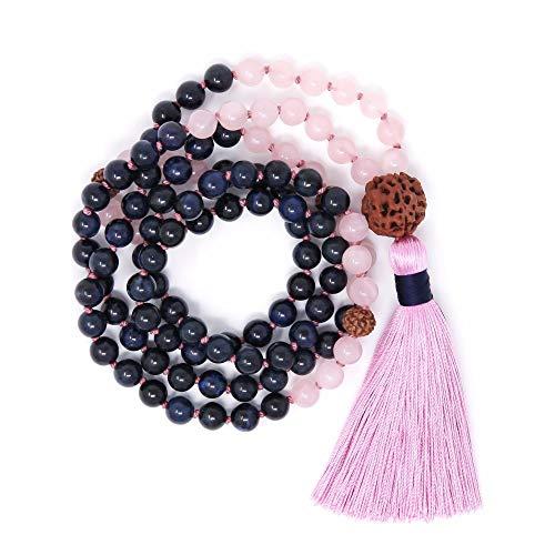 SWAOOS 108 Cuentas Mala Collares Collar De Lapislázuli Anudado A Mano Rudraksha Meditación Collares Prayeryoga Mala Bead Borla Collar