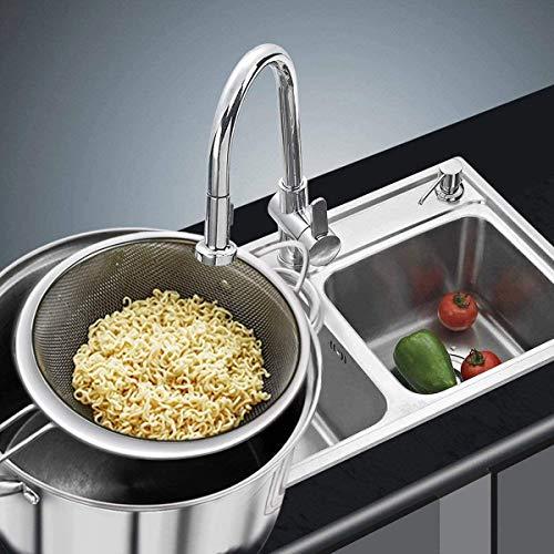 Toruiwa - 3 coladores de acero inoxidable con mango colador de cocina para escurrir nudos, arroz, verduras, blanco de huevo, etc. Tres tamaños, 7 cm, 12 y 18 cm