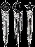 Jetec 3 Piezas Atrapasueños Colgante de Pared de Macramé Blanco Bohemio Hecho a Mano con Diseño de Luna Sol Estrella Decoración Hogar