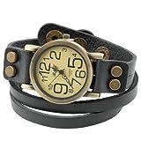 Damenuhr mit Wickelarmband im Vintagedesign - verschieden große Ziffern - Lederarmband 40 cm - Schwarz