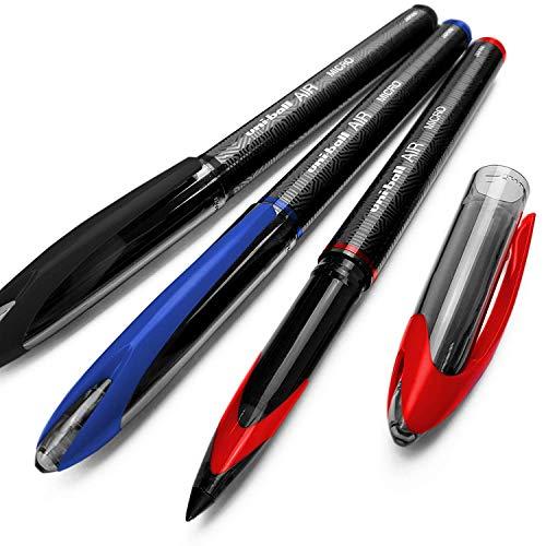 Uni-Ball, UBA-188-M, Air Micro, penna a sfera a punta fine da 0,5mm, confezione da 3,nero, blu e rosso