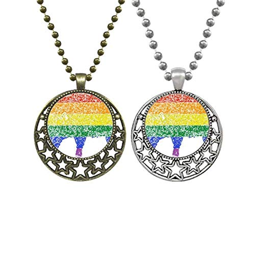 Rainbow Gay Lesbian Pig LGBT Lovers Necklaces Pendant Retro Moon Stars Jewelry