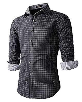 Beninos Men's Casual Long Sleeve Plaid Slim Fit Dress Shirts