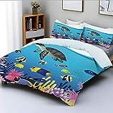 Juego de funda nórdica, ilustración de tortugas anémona de mar, pez dorado, snorkel, paisaje marino tropical, dibujos animados, juego de cama decorativo de 3 piezas con 2 fundas de almohada, azul clar