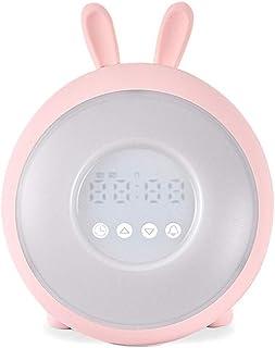 目覚まし時計付きusb充電器スヌーズナイトライト7色バックライト調光可能変色ホーム寝室のベッドサイドキッズ学生ギフト Brwzjlizn (Color : A, Size : 15.1*18.2cm)