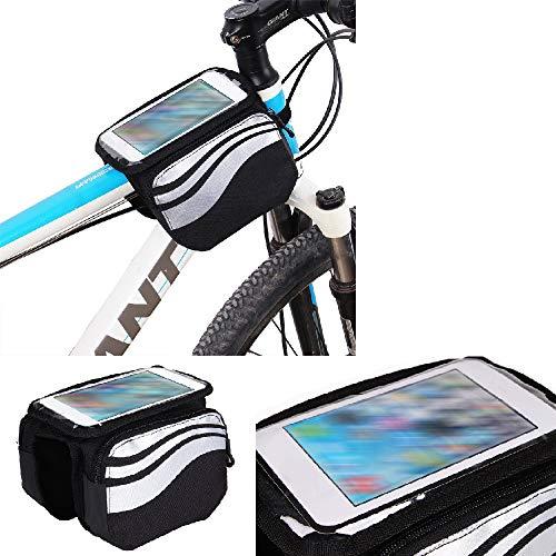 Compatibile Con -Huawei P9 Lite- Borse Telaio Bicicletta Borsa Bici Supporto Tubo Borsetta Fissare Al Telaio Custodia Fascia Porta Cellulare Ciclismo Compatibile Con -Huawei P9 Lite- Argento Nero,