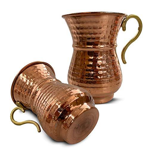 6 teiliges Kupfertassenset für Ayran, handgehämmerter Kupferbecher, handgefertigte Tasse aus reinem Kupfer, ideal für Sommergetränke und Dekoration, Kupferbecher-Set für türkischen Trinkjoghurt Ayran