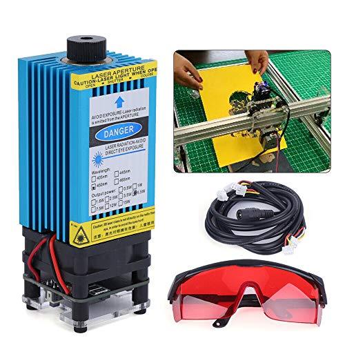 Módulo de control láser azul TTL PWM de 5,5 W, 450 nm, cabezal de quemador ajustable de 12 V, módulo de grabado láser y gafas de protección para máquina de grabado láser DIY