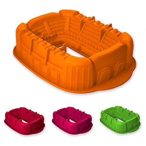 Silikon-Backform Fußball Stadion geeignet zum Backen von Kuchen und Torten sowie zur Zubereitung von Eis oder Götterspeise. Eine tolle Überraschung für Partys und Geburtstage. (orange)
