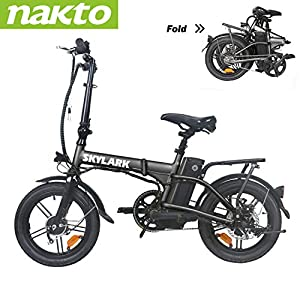 "Trekpower 16"" Lightweight Folding EBike, Pedals&Power Assist Electric Bike, 36V Removable Lithium Battery and 250W Motor Electric Bicycle-Black/White/Yellow/Red"