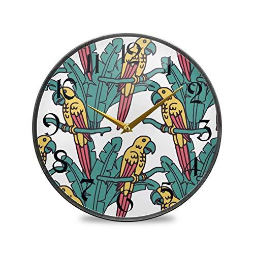 ART VVIES Reloj de Pared Redondo de 9,5 Pulgadas Que no Hace tictac silencioso Funciona con Pilas Oficina Cocina Dormitorio decoración del hogar-Loros Amarillos