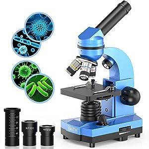 [Hohe Vergrößerung] Wissenschaftsmikroskop mit WF10x & WF25x Okular und optische Linse: 4x, 10x, 40x , drehbarer monokularer Kopf bietet sechs Vergrößerungsstufen: 40x, 100x, 250x, 400x und 1000x. Hochwertige Optik kann Kindern eine verbesserte visue...