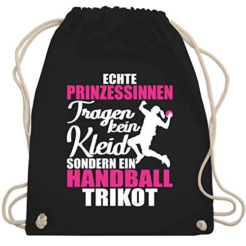 Shirtracer Handball - Echte Prinzessinnen tragen kein Kleid sondern ein Handball Trikot - weiß/fuchsia - Unisize - Schwarz - handball stoffbeutel - WM110 - Turnbeutel und Stoffbeutel aus Baumwolle