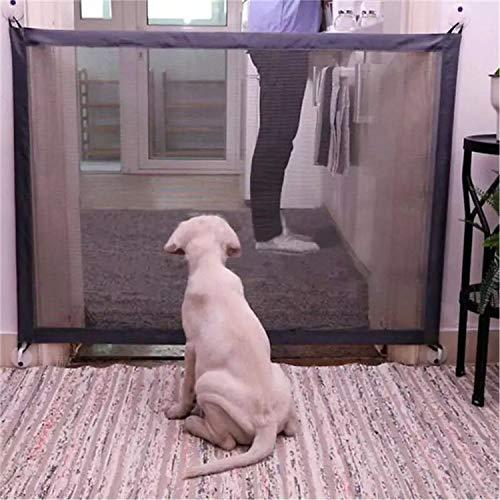 Ruixib Hundegitter, einziehbar, für Hunde, faltbar, tragbar, für Wand, Treppe, Sicherheitsgitter aus Netzstoff für Tiere (180 x 72 cm)