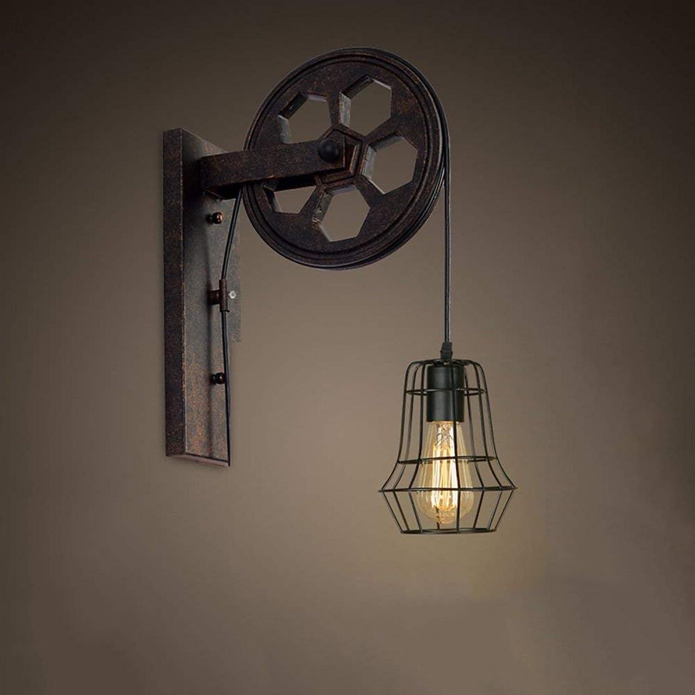 de moda XLIGHT Lámpara de Parojo Vintage Pulley Pulley Pulley E27 Antique Sconce Kitchen Restaurante Bar Loft Store Pasillo Aplique (Color   K)  en promociones de estadios