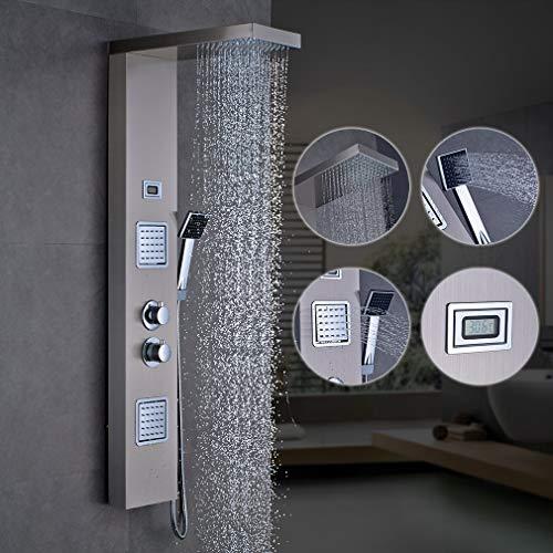 WHCCL Badkamer Douche Systeem met Temperatuur Display,regendouche, handdouche en 2 plaatsen douche