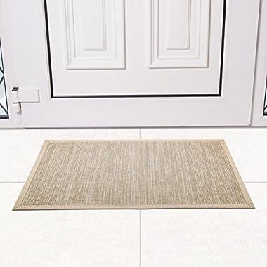 Valdler 18 x 30  Non-Slip Indoor and Outdoor Door Place Mat Rug Rectangular Beige
