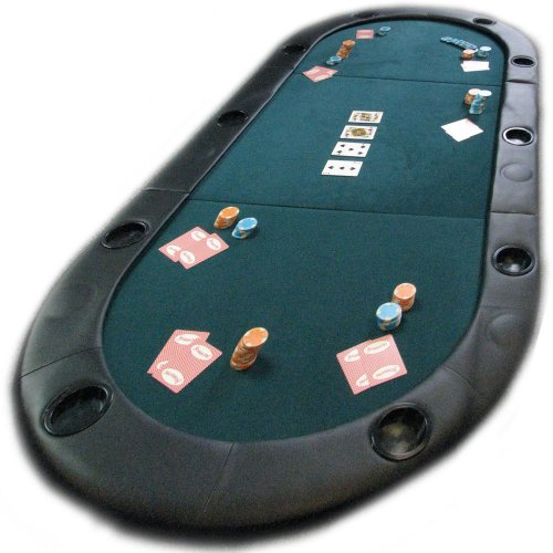 """Trademark Poker 78"""" Light-Weight Texas Hold'em Poker Foldable Tabletop with Padded Armrest and Cupholders for 10 Players, Green (841606GNO)"""