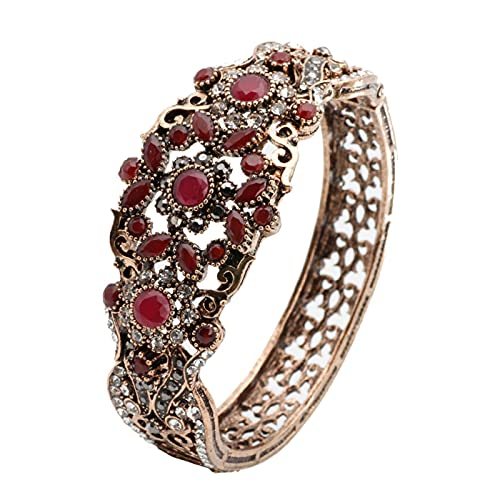 Brazalete De Brazalete Vintage Para Mujer, Brazalete De Flor Hueca Con Diamantes De Imitación De Color Dorado Antiguo, Joyería De Boda Retro