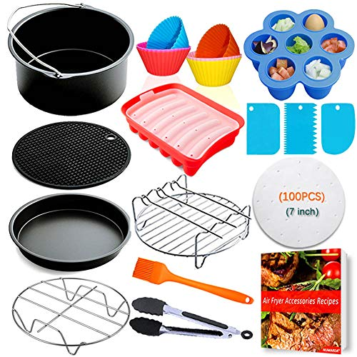 Air Fryer Accessories for Ninja Gowise Cosori Phillips Nuwave 7inch Air Fryer Accessories Fit 3.2QT,3.7QT-4.2QT Air Fryer,Nonstick Coating Dishwasher Safe,with Cookbook