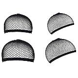URAQT Wig Cap, 4 Stück Perücke Kappen Caps,Nylon Haarnetz Dehnbare Perückekappe Schwarz Mesh Elastische Netz