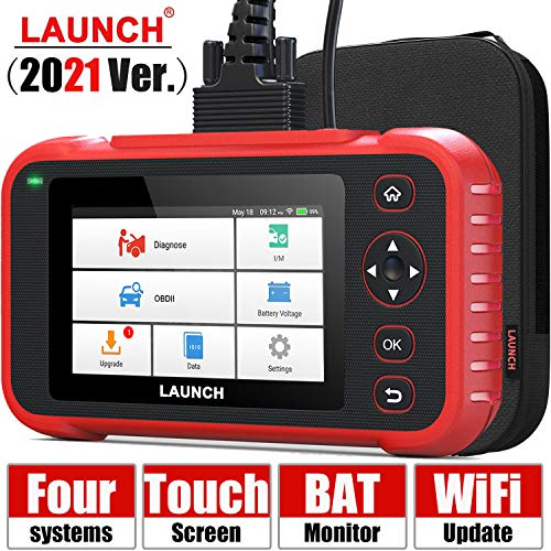 """[2021 Elite] LAUNCH Code Reader-OBD2 Scanner Check Engine ABS SRS Transmission Scanner with Battery Test, 5"""" Touchscreen WiFi Free Update, Car Scanner Diagnostic for All Cars with Health Report"""