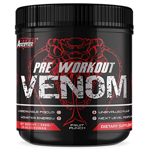 Pre Workout Venom 'Fruit Punch' - Pump Pre Workout Supplement by Freak Athletics - Elite Level Pre Workout Supplement - Pre Workout Powder Made in The UK - Available in Fruit Punch