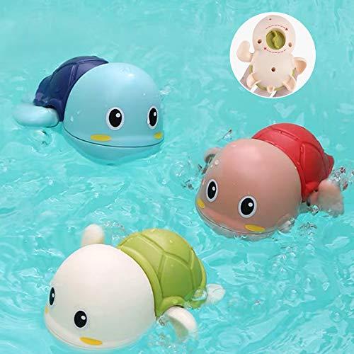 AUBEY 3 Stück Badewannenspielzeug, Badespielzeug Baby ab 2 Jahr, Badewannen Spielzeug Schildkröte Schwimmen, Pool Wasserspielzeug Kinder