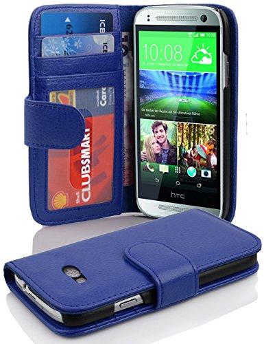 Cadorabo Hülle für HTC ONE M8 Mini (2.Gen.) - Hülle in Neptun BLAU – Handyhülle mit 3 Kartenfächern - Case Cover Schutzhülle Etui Tasche Book Klapp Style
