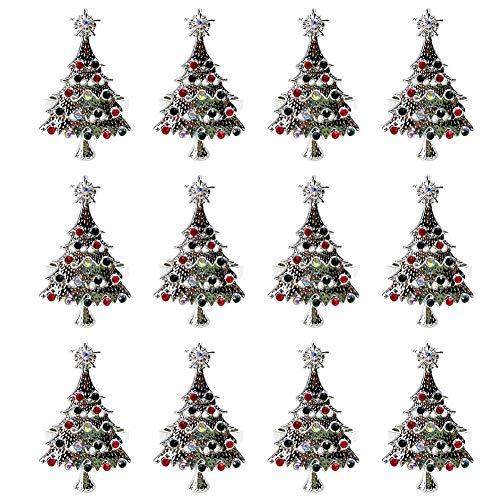 Moligh doll Set of 12 Christmas Tree Napkin Rings Holder Buckle Set Christmas Rhinestone Diamond Metal Alloy Napkin