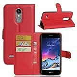 Litao-Case CN Custodia per LG K8 2017 M200N Custodia Flip in Pelle PU + Cover Case in Silicone Fissa Protezione 1