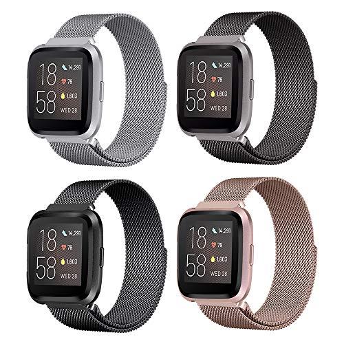 4 Stück Metall Armband Kompatibel für Fitbit Versa/Fitbit Versa 2/Fitbit Versa Lite Ersatzarmbänder,Smart Uhrenarmbänder Zubehör| Klein:5,9''-9.2'', Pistolenfarbe/Schwarz/Roségold/Silber