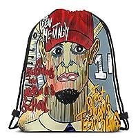 架空の描写巾着バックパック屋外袋ショルダーバッグ36 x 43 cm