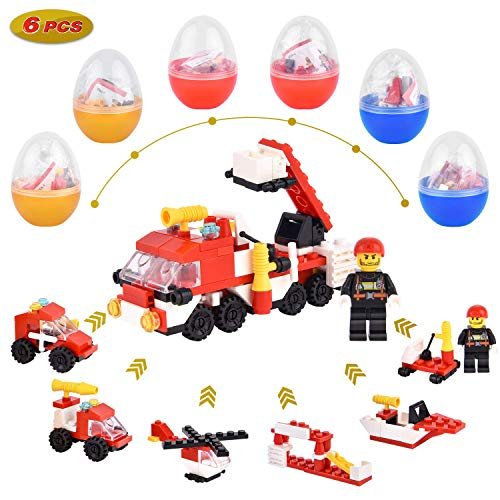 Why Choose Easter Eggs Filled with Fire Rescue Vehicle Building Block Toys, 6 Pack 3.5 Plastic Eggs...