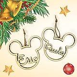 Bolas de navidad personalizadas de madera Mickey Disney   Adornos navideños Ornamento Decoraciones árbol colgante Christmas